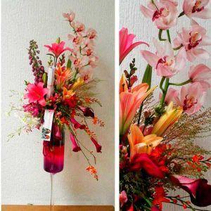 Arreglo floral Shot de Fresa con Orquideas cymbidium