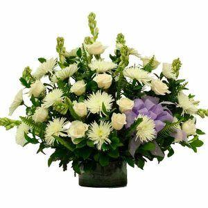 Arreglo Fúnebre con Rosas Nilo Blanco